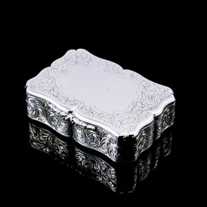 A Large Antique Victorian Solid Sterling Silver Table Snuff Box with Intricate Engravings - Edward Smith 1853