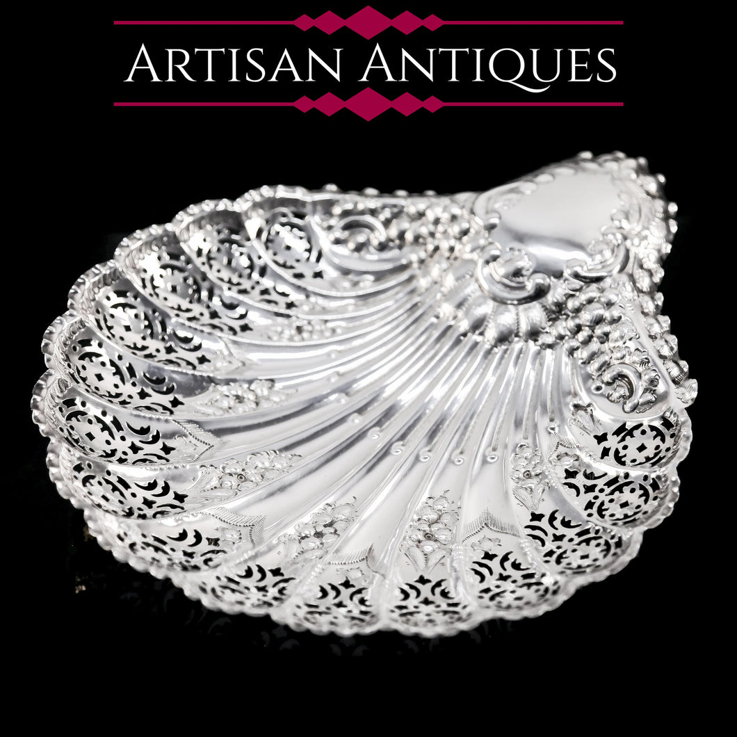 Antique Victorian Large Solid Silver Scallop-Shaped Dish/Bowl - Henry Atkin 1899 - Artisan Antiques