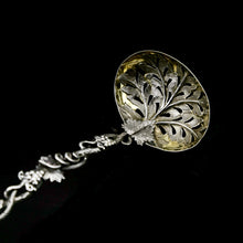 Load image into Gallery viewer, Antique Victorian Solid Sterling Silver Sugar Sifter Spoon with Grape Vine Design - Taylor & Perry 1853