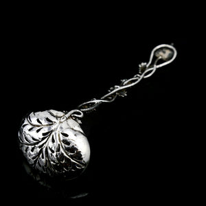 Antique Victorian Solid Sterling Silver Sugar Sifter Spoon with Grape Vine Design - Taylor & Perry 1853