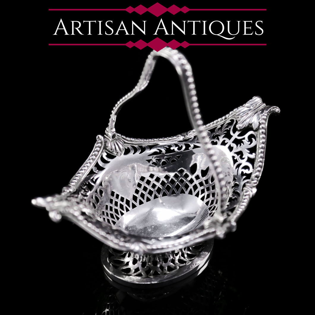 Antique Victorian Small Silver Sweet Basket/Bonbon Dish - Charles Stuart Harris 1890 - Artisan Antiques