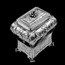 Load image into Gallery viewer, Antique Georgian Solid Sterling Silver Tea Caddy with Floral Embossed Design and Coat of Arms - Daniel Smith & Robert Sharp 1765