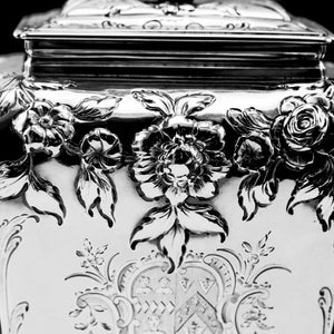 Antique Georgian Solid Sterling Silver Tea Caddy with Floral Embossed Design and Coat of Arms - Daniel Smith & Robert Sharp 1765