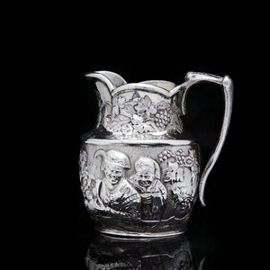 Antique Victorian Solid Silver Milk Jug/Pitcher with Figural Tavern Scene - Thomas Smily 1876 - Artisan Antiques