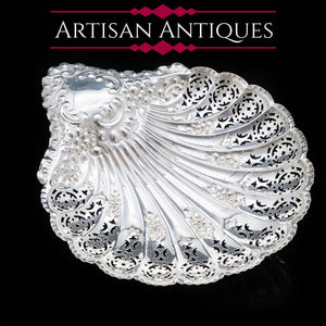 A Large Solid Silver Scallop-Shaped Dish/Bowl - Henry Atkin 1908 - Artisan Antiques