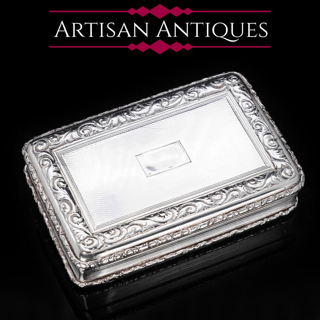 Large Georgian Solid Silver Table Snuff Box - Thomas Edwards 1836 - Artisan Antiques