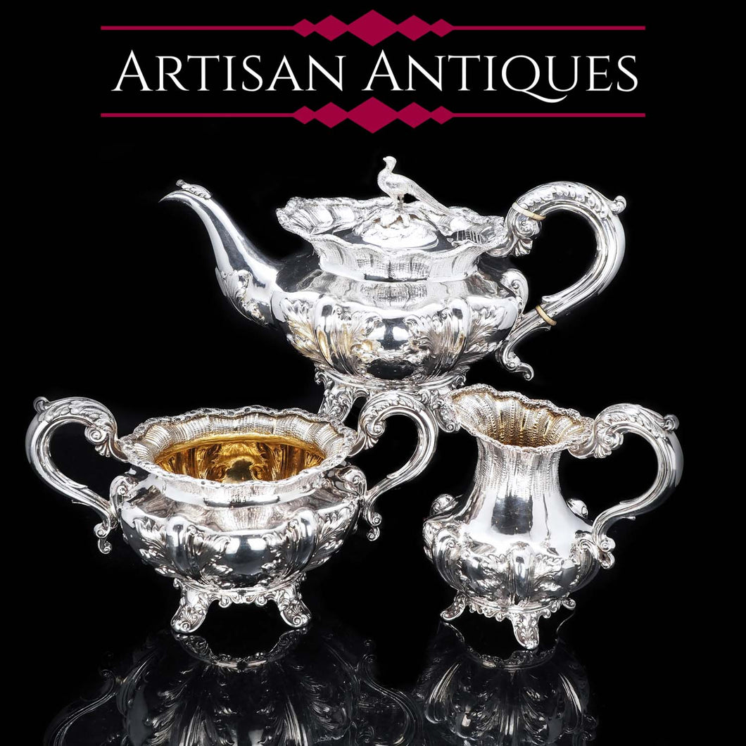 Magnificent Georgian Silver Three-piece Tea Set - Benjamin Smith 1836 - Artisan Antiques