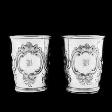 Load image into Gallery viewer, Antique Georgian Solid Silver Pair of Beakers/Cups with Floral Chasing - John Robins 1796