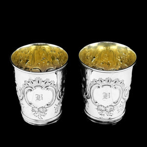 Antique Georgian Solid Silver Pair of Beakers/Cups with Floral Chasing - John Robins 1796