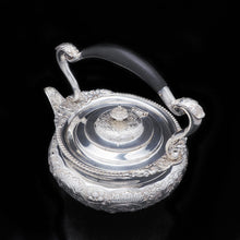 Load image into Gallery viewer, Antique Solid Silver Kettle with Ornate Chased Motifs - Elkington & Co. 1904 - Artisan Antiques