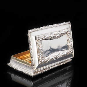 RESERVED - A Heavy Solid Silver Table Snuff Box - Francis Clark 1845 - Artisan Antiques