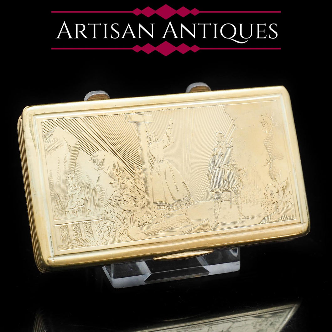 Fine Engraved French Silver Gilt Snuff Box - c.1850 - Artisan Antiques