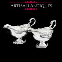 将图片加载到图库查看器中, A Pair of Georgian Solid Silver Pedestal Sauce Boats - William Collins 1774 - Artisan Antiques