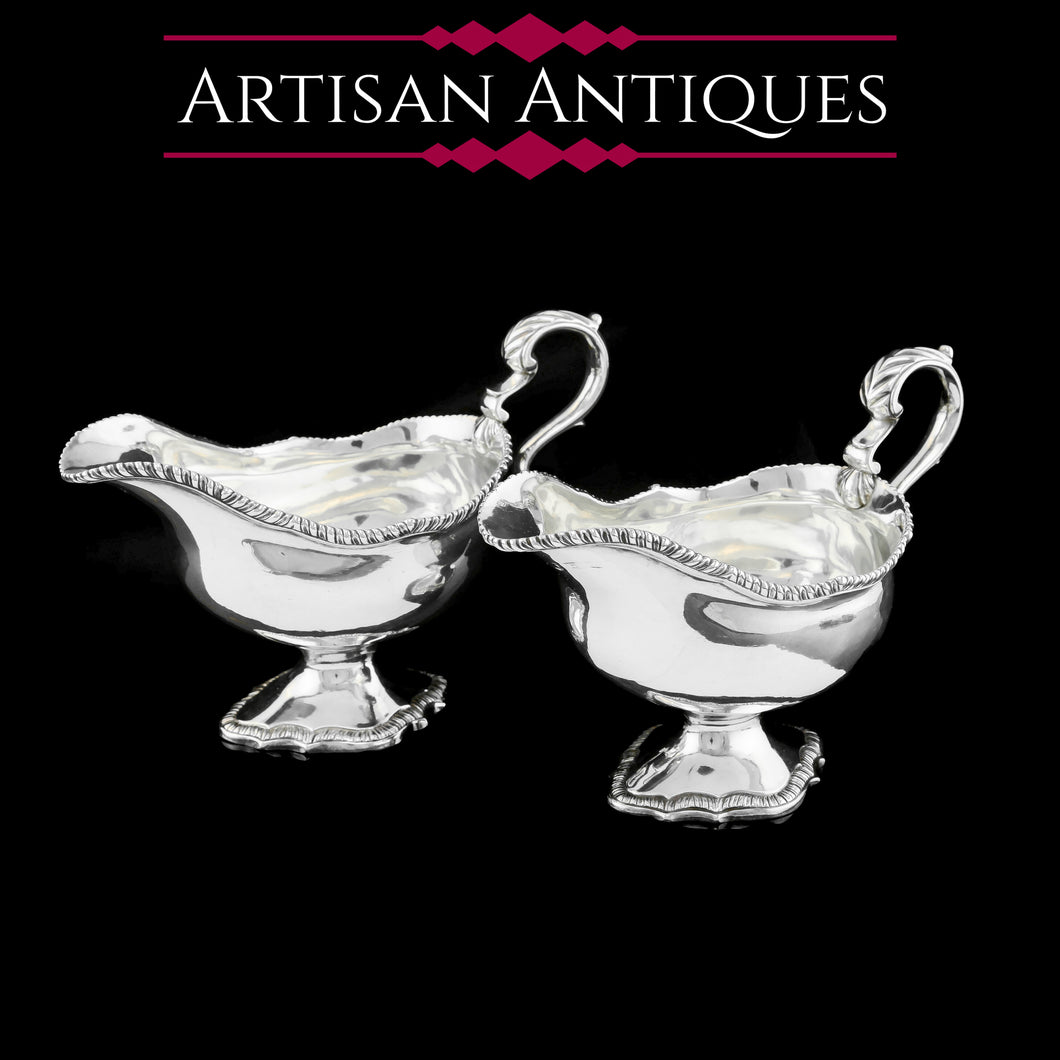 A Pair of Georgian Solid Silver Pedestal Sauce Boats - William Collins 1774 - Artisan Antiques