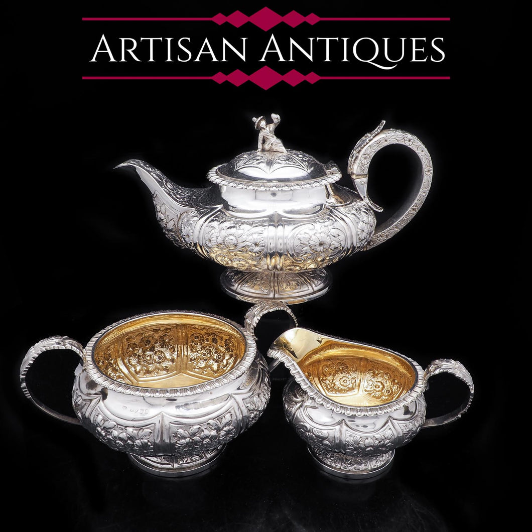Georgian Solid Silver 3-Piece Chased Tea Set Chinoiserie Interest - Robert Peppin 1824 - Artisan Antiques