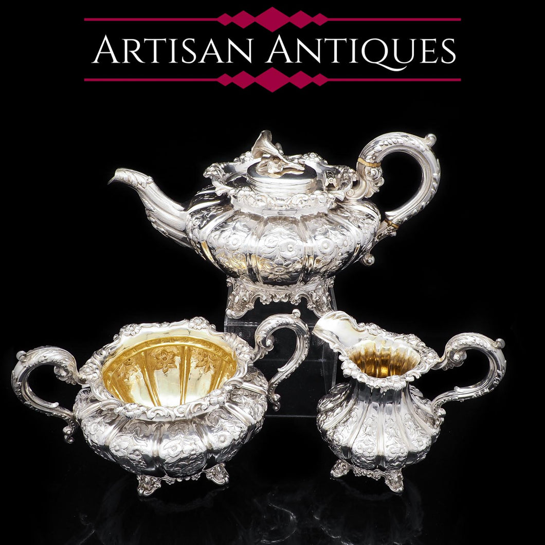 Magnificent Georgian Solid Silver 3 Piece Tea Set - John James Keith 1836 - Artisan Antiques