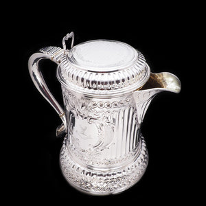 Enormous Solid Silver Flagon of The Hicks Family - London 1864 - Artisan Antiques