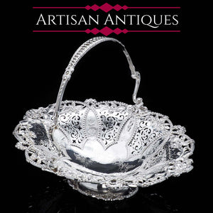 A Stunning Large Victorian Solid Silver Basket - Martin Hall & Co 1858 - Artisan Antiques
