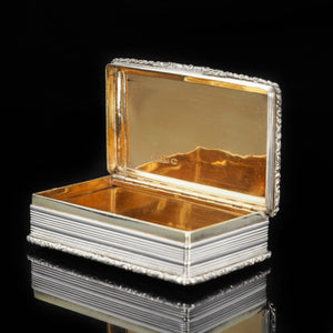 "Newstead Abbey ""Castle Top"" Silver Table Snuff Box - Nathaniel Mills 1838 - Artisan Antiques"