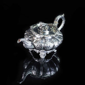 Antique English Solid Silver 3 Piece Tea Pot Set - 1836 London - Artisan Antiques