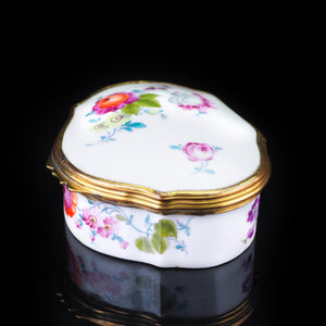 Antique German Hand Painted Porcelain Snuff Box Scalloped Shape - c.19th Century - Artisan Antiques