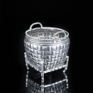 Antique Chinese Solid Silver Trompe L'oeil Salt/Mustard Pot - 19th Century - Artisan Antiques