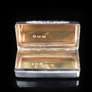 Antique Victorian Pocket Size Silver Snuff Box - 1841 - Artisan Antiques