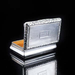 Antique Georgian Silver Snuff Box with Exquisite Chased Design - 1822 - Artisan Antiques