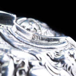 Swedish Solid Silver Table Snuff Box Repousse Design - 1938 - Artisan Antiques