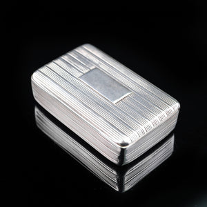 Antique Georgian Silver Snuff Box with Reeded Design - 1824 - Artisan Antiques