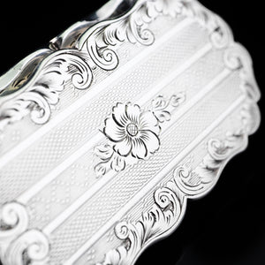 Antique Victorian Silver Snuff Box with Hand Engraved Acanthus Motifs - 1849 - Artisan Antiques