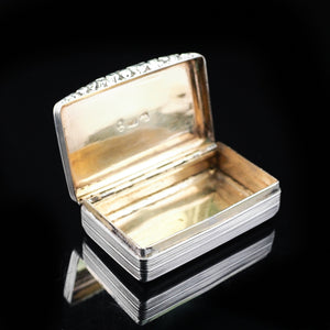 Antique English Georgian Silver Snuff Box with Gilt Interior - 1827 - Artisan Antiques