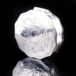 Antique Dutch 12 Sided Scalloped Silver Snuff Box with Gilt Interior - 1864 - Artisan Antiques