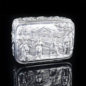 Antique High Relief Silver Snuff Box with Country Scene - Thomas Hayes 1897 - Artisan Antiques