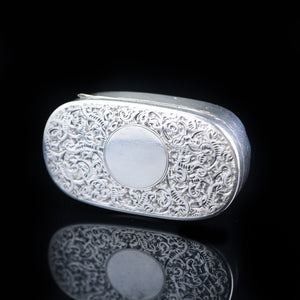 Antique Solid Silver Pill / Snuff Box by Cornelius Saunders & Frank Shepherd - 1890 - Artisan Antiques