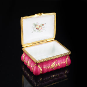 Antique German Porcelain Snuff Box with Hand Painted Rose/Floral Designs - 18th Century - Artisan Antiques