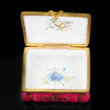 Load image into Gallery viewer, Antique German Porcelain Snuff Box with Hand Painted Rose/Floral Designs - 18th Century - Artisan Antiques