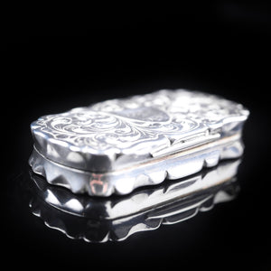 Antique Victorian Silver Hand Engraved Snuff / Vinaigrette Box by Hilliard & Thomason - 1850 - Artisan Antiques
