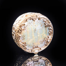 Cargar imagen en el visor de la galería, Antique German Gold Plated Solid Silver & Mother of Pearl Circular Pill Box - 19th C - Artisan Antiques