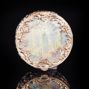 Antique German Gold Plated Solid Silver & Mother of Pearl Circular Pill Box - 19th C - Artisan Antiques