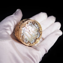 Load image into Gallery viewer, Antique German Gold Plated Solid Silver & Mother of Pearl Circular Pill Box - 19th C - Artisan Antiques