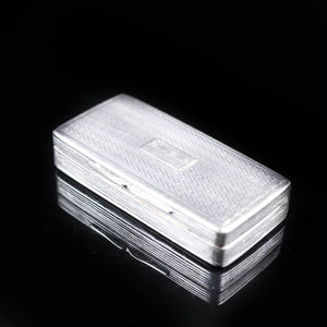 Victorian Solid Silver and Gilt Interior Rectangular Snuff Box by Taylor & Perry - 1841 - Artisan Antiques