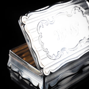 Victorian Heavy Table Silver Snuff Box by Edwards Smith - 1851 - Artisan Antiques