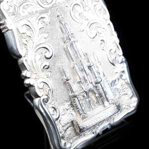 Victorian Scott Monument Castle Top Silver Card Case - Frederick Marson 1856 - Artisan Antiques