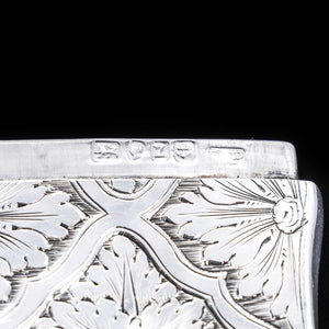 Victorian Silver Card Case with Spectacular Bright Cut Engravings -David Pettifer 1848 - Artisan Antiques