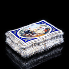 Load image into Gallery viewer, Antique Solid Silver Table Snuff Box with Hand Painted Enamel Scene - 19th Century - Artisan Antiques