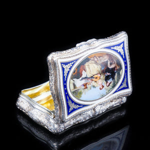 Antique Solid Silver Table Snuff Box with Hand Painted Enamel Scene - 19th Century - Artisan Antiques