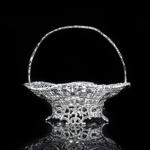 Victorian Solid Silver Fruit/Bonbon Basket Dish - William Comyns 1890 - Artisan Antiques