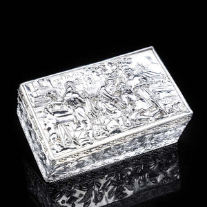 Raised Scenic Silver Table Snuff Box with Gilt Interior - Berthold Muller - Artisan Antiques
