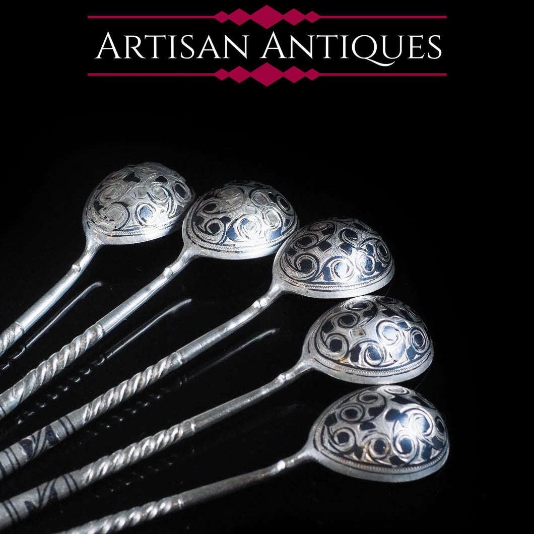 Antique Imperial Russian Silver Niello Spoons - Set of 5 c.1850 - Artisan Antiques